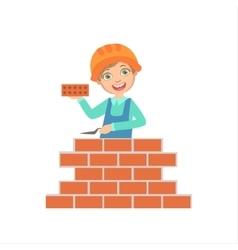 Boy Building A Brick Wall Kid Dressed As Builder vector image vector image