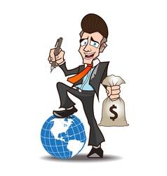 businessman powerful cartoon vector image vector image