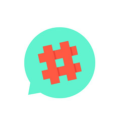 green speech bubble with red hashtag vector image vector image