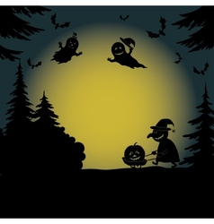Halloween landscape with ghosts and witch vector image vector image
