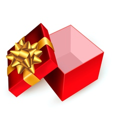 Open red gift box with golden ribbons vector image vector image
