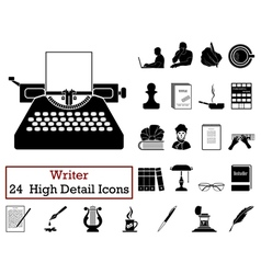 Set of 24 Writer Icons vector image