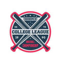 baseball college league vintage label vector image vector image
