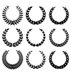 Black laurel wreaths 1 vector image