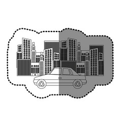 black silhouette sticker of city buildings and car vector image vector image