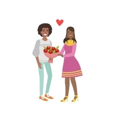 Couple In Love Man Giving Flowers vector image vector image