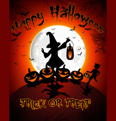 halloween on full moon background vector image vector image