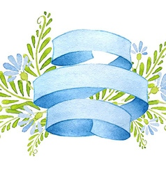 Ribbons with cornflowers and leaves vector image vector image