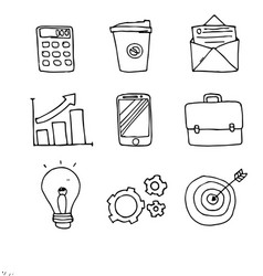 Set of business doodle icons on white background vector