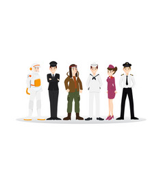 set of different career professional people vector image vector image