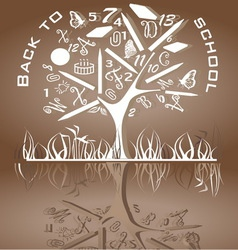 Tree shaped made of back to school icons vector image vector image
