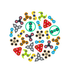 cartoon spinner toy round design template color vector image