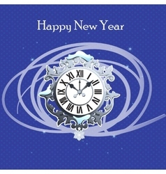 Clock with snow and abstraction lines vector image