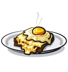fried egg with rye bread toast vector image vector image