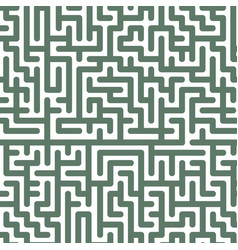 green labyrinth pattern on white background vector image vector image