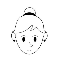 Happy woman with hair in high bun icon image vector