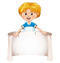 little boy holding a blank sheet vector image vector image