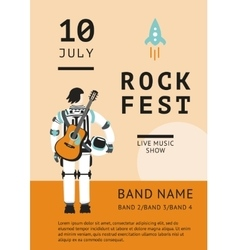 Rock festival poster with an astronaut vector image