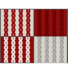 Set of knitted swatches with braids vector image