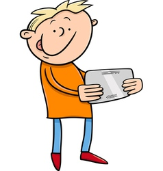 boy with tablet cartoon vector image vector image