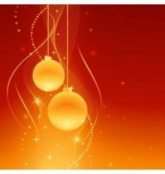 Golden baubles on festive background vector