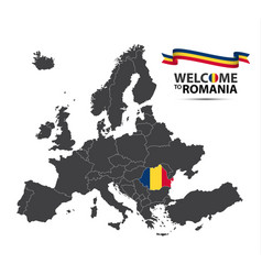 map of europe with the state of romania vector image