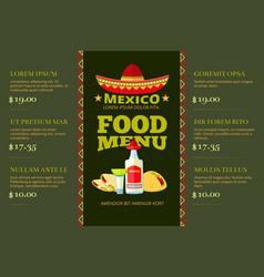 Mexican cuisine food restaurant menu vector