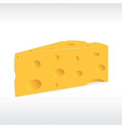 piece of yellow porous cheese with holes vector image vector image