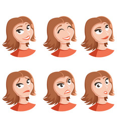 set of woman face icons vector image vector image