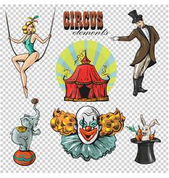 traveling chapiteau circus retro cartoon icons vector image