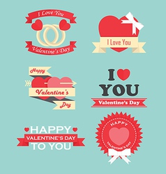 Valentine day labels icons elements and badges vector image vector image