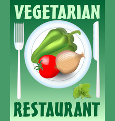 vegetarian restaurant banner with plate knife and vector image vector image