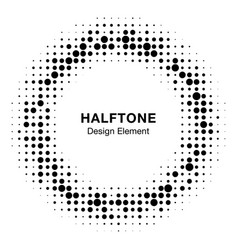 Abstract circle frame halftone random dots emblem vector