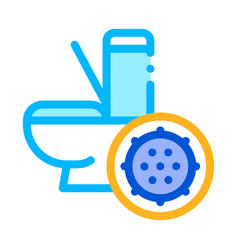 Bacteria germ and toilet bowl sign icon vector