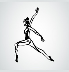 Ballet girl art gymnastics dancing woman vector