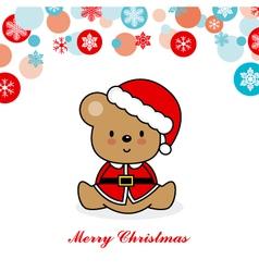Bear dressed as santa vector image