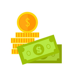 bills and coins in flat design vector image vector image
