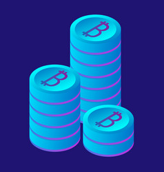 bitcoin stack icon isometric style vector image