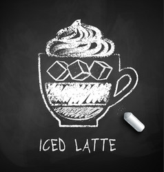 Black and white sketch of iced latte coffee vector