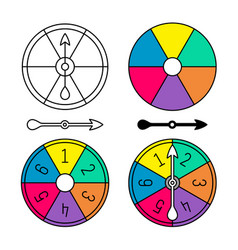 Board game color spinner with numbers set vector