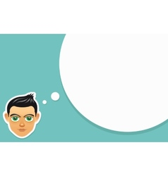 Boy face with think bubble vector