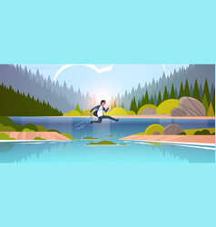 Brave businessman jumping over river vector