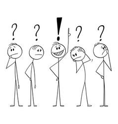 cartoon five men or businessmen thinking hard vector image