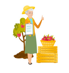 Caucasian farmer showing documents and thumb up vector