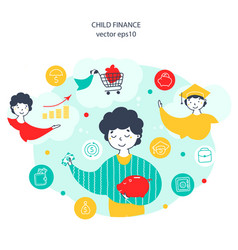 child finance money saving flat vector image