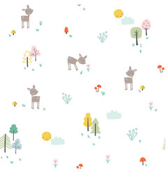 Childish pattern with little deer in forest vector