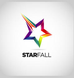 colorful star fall logo design symbol vector image