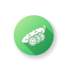 cucumber green flat design long shadow glyph icon vector image