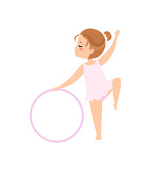 Cute flexible little ballerina doing exercise with vector
