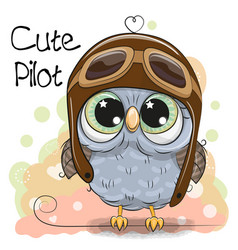cute owl in a pilot hat vector image